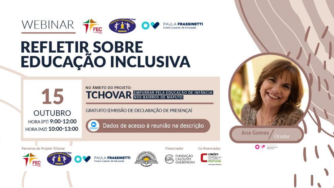 15 de Outubro   Projeto Tchovar promove Webinar sobre Educação Inclusiva